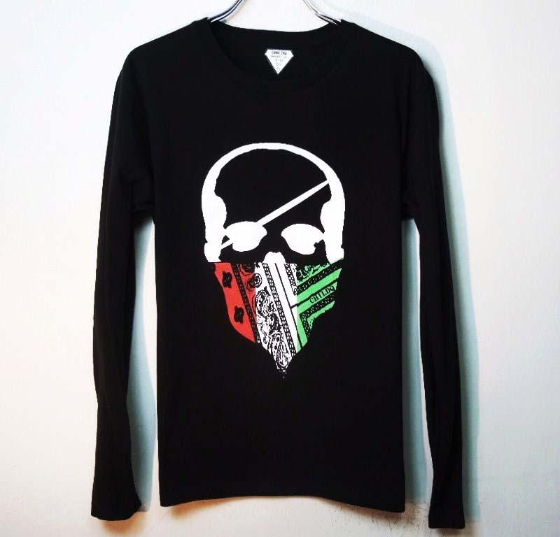 スカル バンダナ ロングTシャツ / Black×Italy color