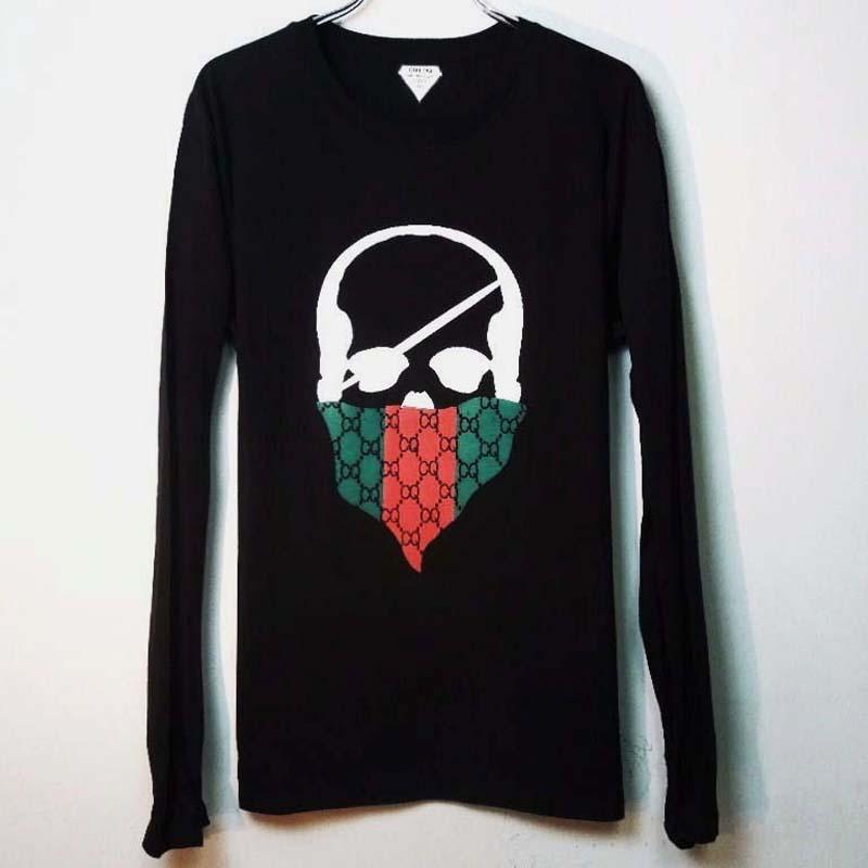 スカル バンダナ モノグラム ロングTシャツ / Black×Red&green
