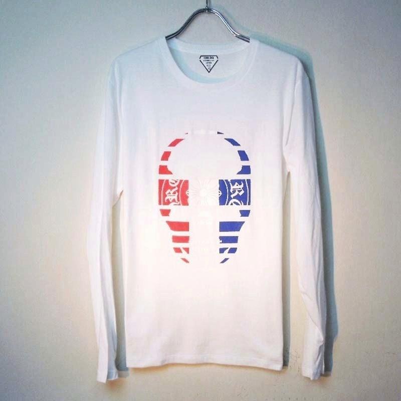 スカル クロス トリコロールカラー ロングTシャツ white