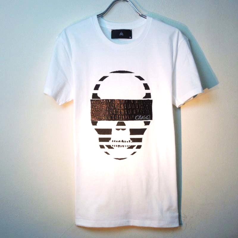 (本牛革)Skull Swarovski leather T-shirt White