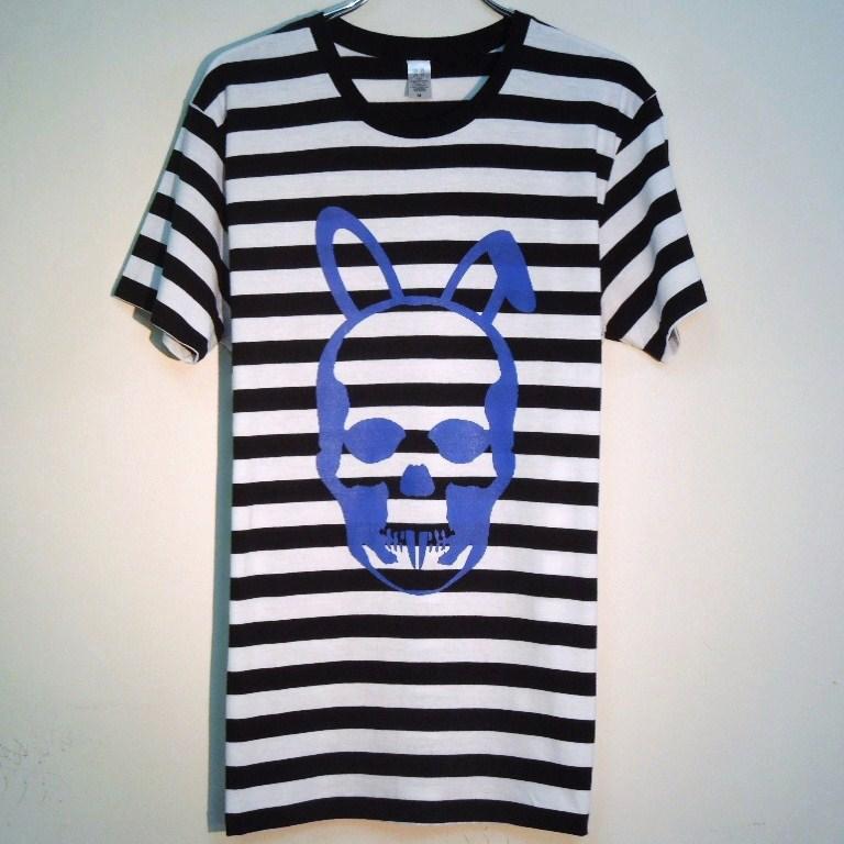 Skull Bunny Border T-shirt  Blue