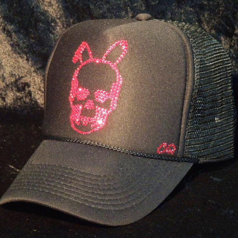 Skull Bunny Swarovski cap Black×Red