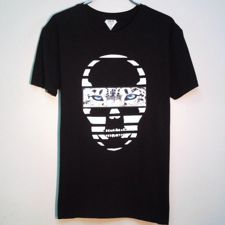 Skull White Tiger T-shirt  Black