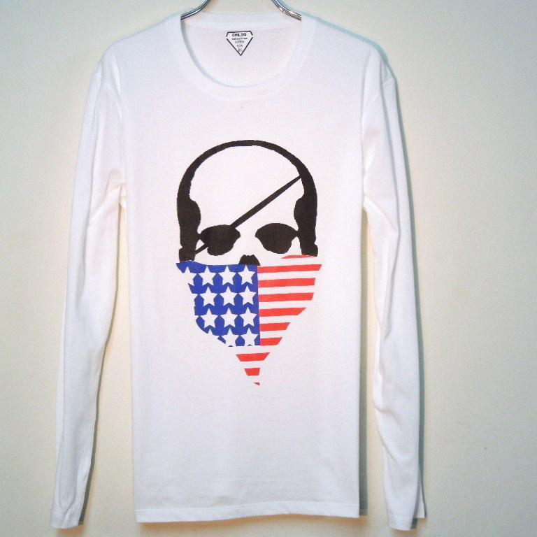 Skull bandana USA color Long T-shirt / white