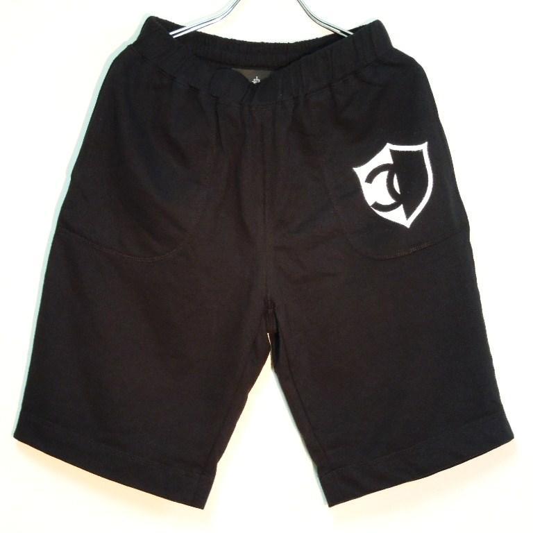 Half CQ emblem Half pants black