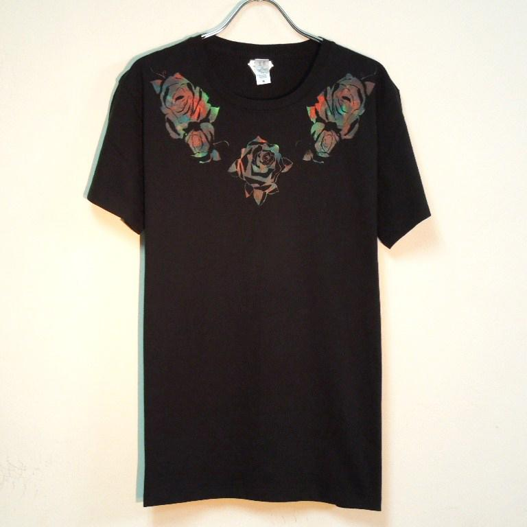 Roses T-shirt Black × Red