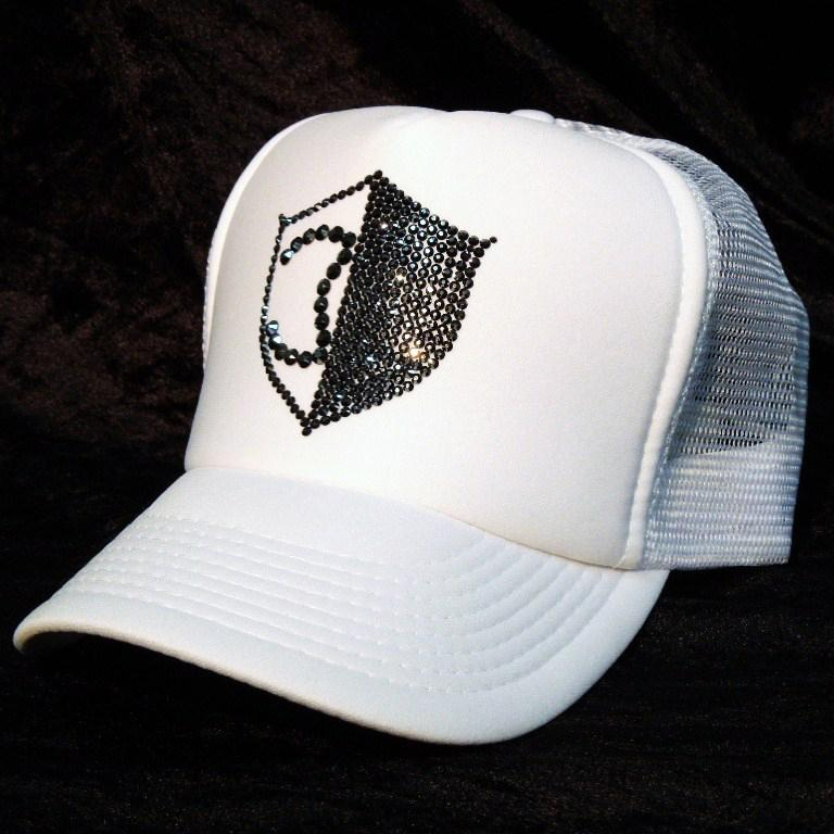 Half CQ emblem Swarovski Cap white