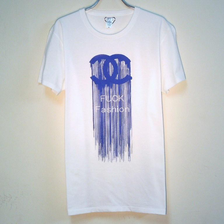 Fuck Fashion waterfall T-shirt white×Blue