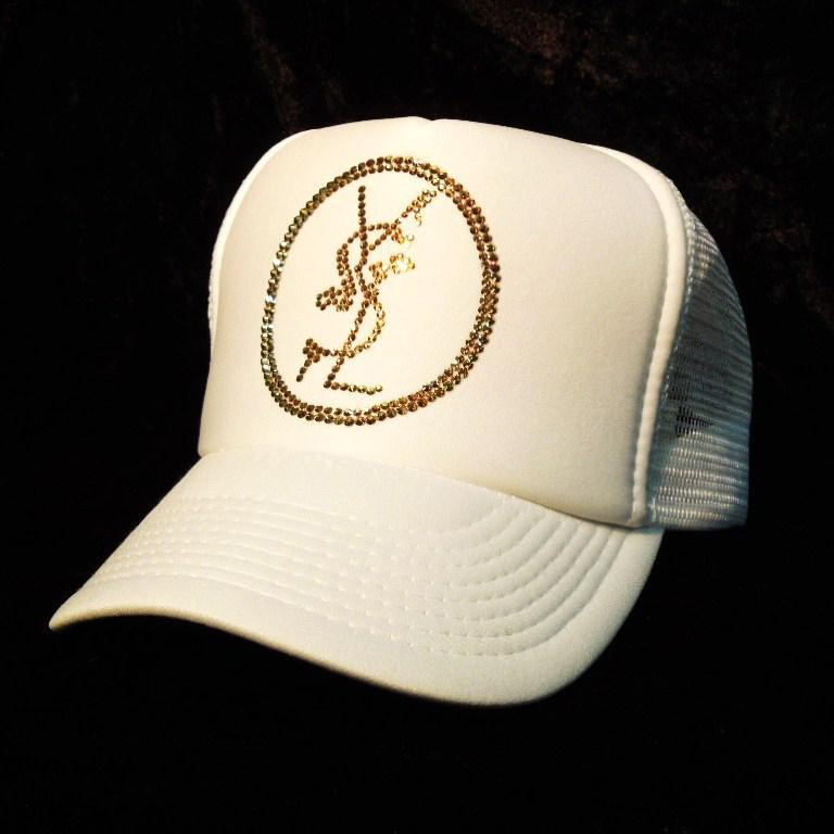Emblem crash melt Swarovski cap White×Gold
