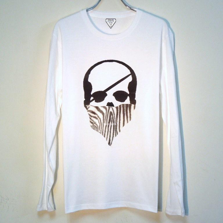Skull Bandana Zebra Long T-shirt White