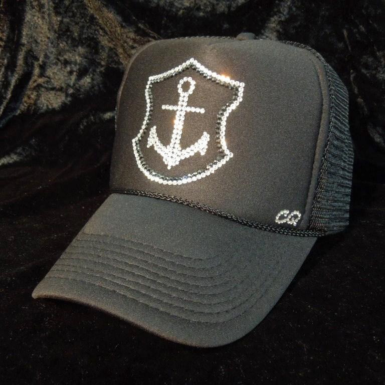 Marin mark emblem Swarovski cap black