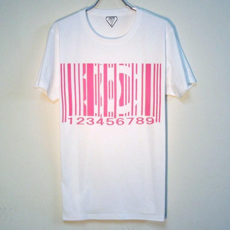Parody bar code T-shirt White×pink