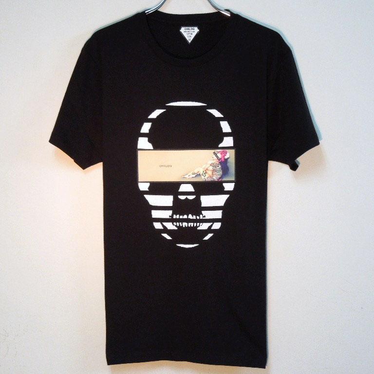 Skull Tattoo Girl NO.15 T-shirt Black