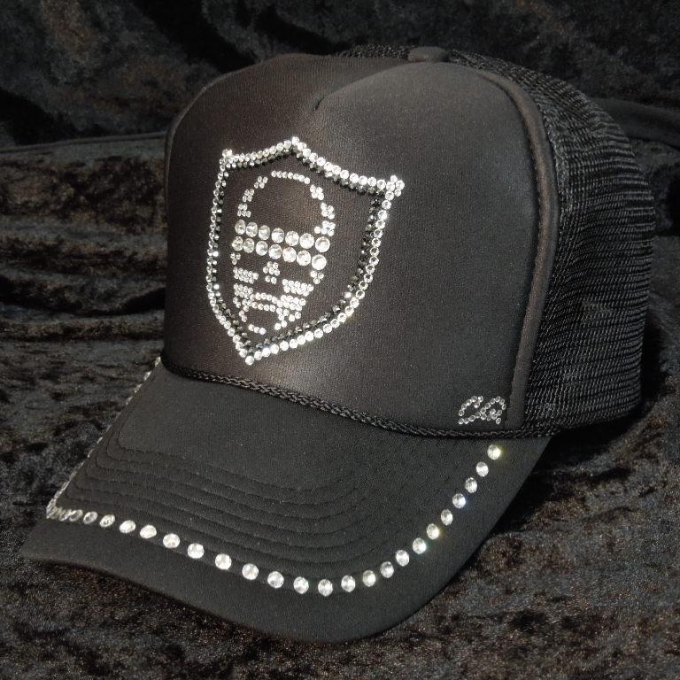 Skull Emblem Swarovski Full Custom Cap Black