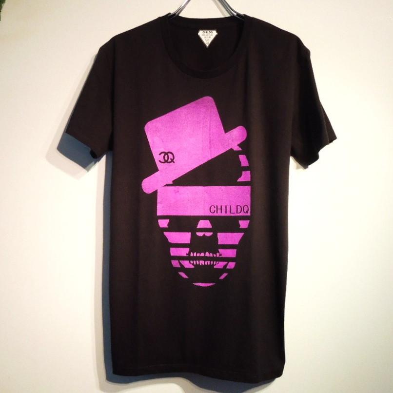 ハットCQスカル Tシャツ / Black×Purple