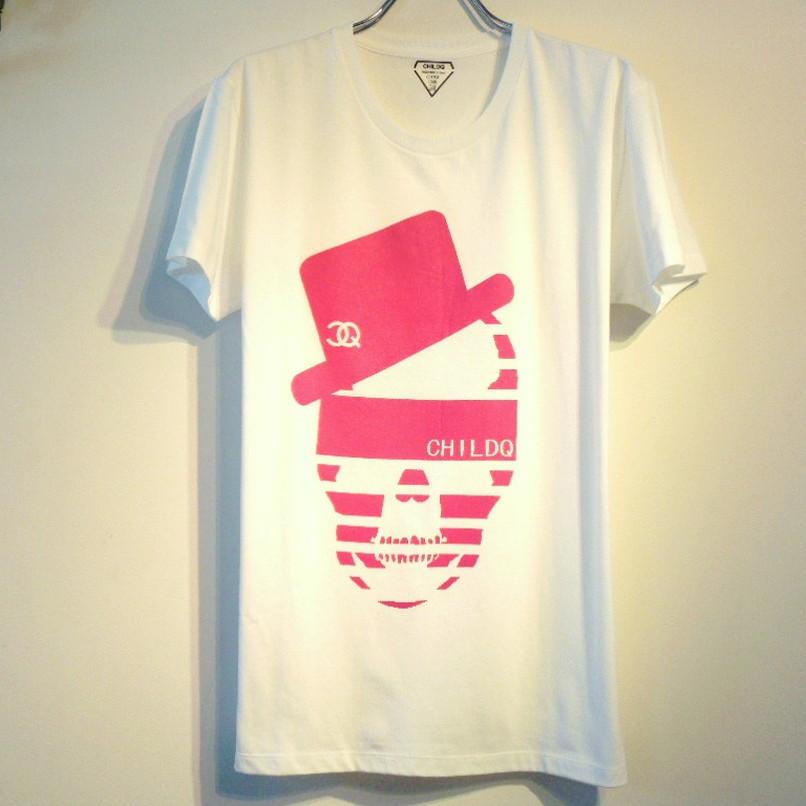 ハットCQスカル Tシャツ / White×Pink