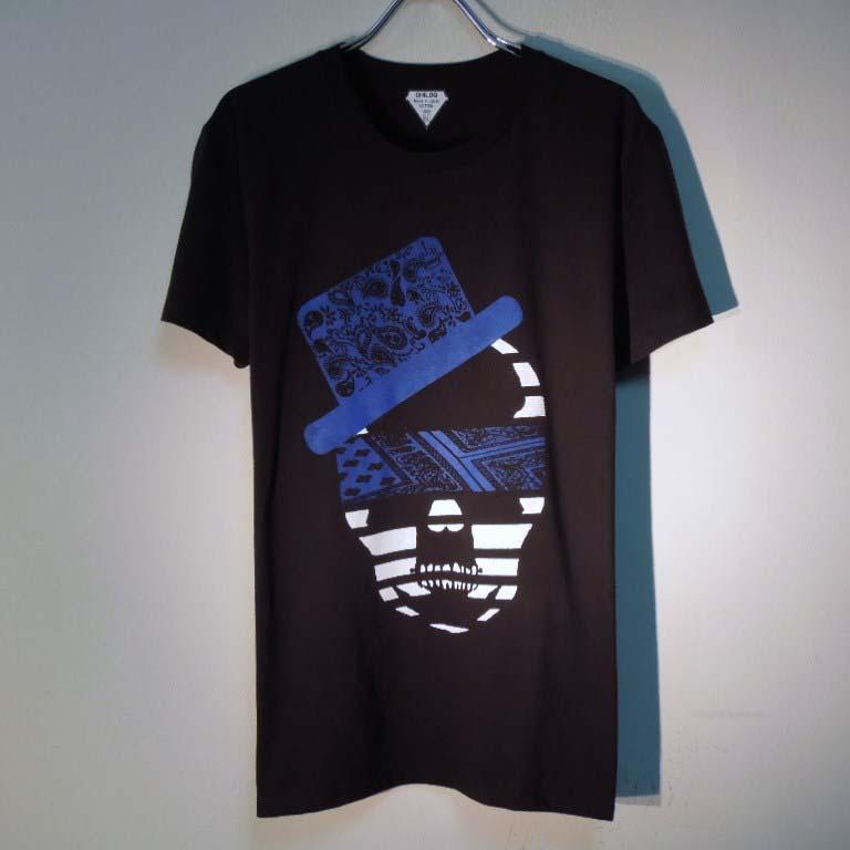 スカル ハット ペイズリー柄 Tシャツ / Black×Blue