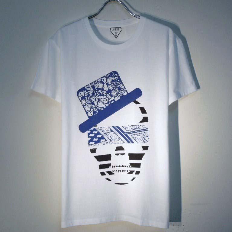 スカル ハット ペイズリー柄 Tシャツ / White×Blue