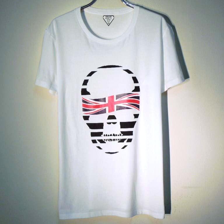 スカル ユニオンジャック Tシャツ / White