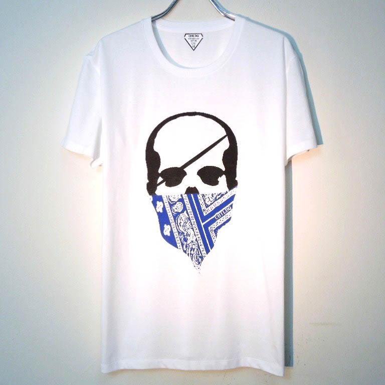 スカル バンダナ Tシャツ / White×Blue