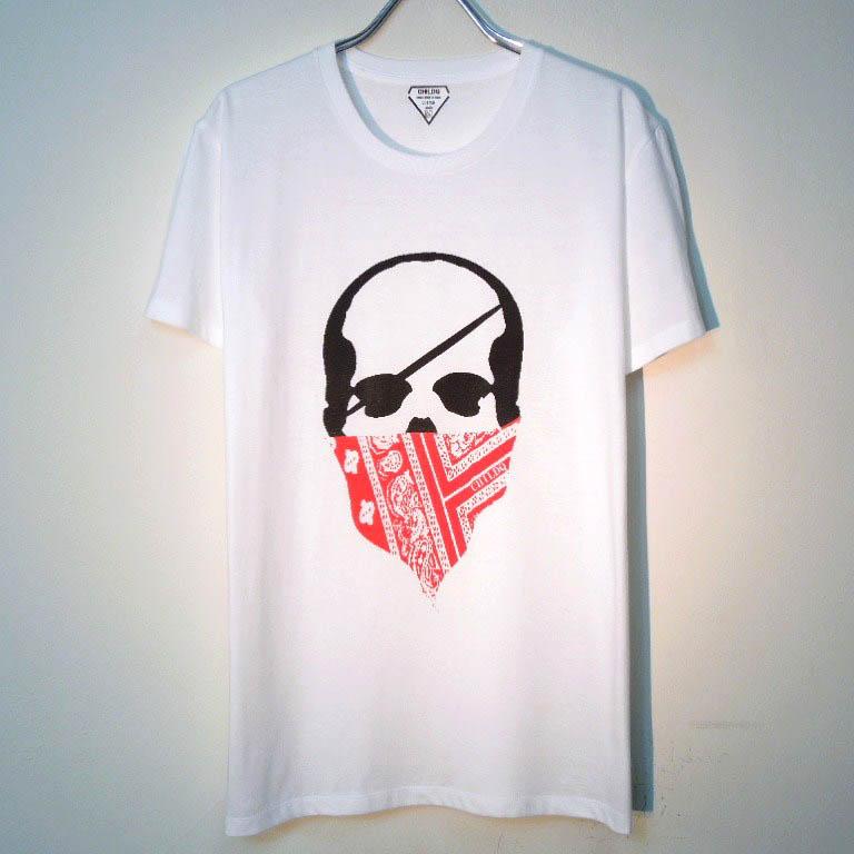 スカル バンダナ Tシャツ / White×Rad