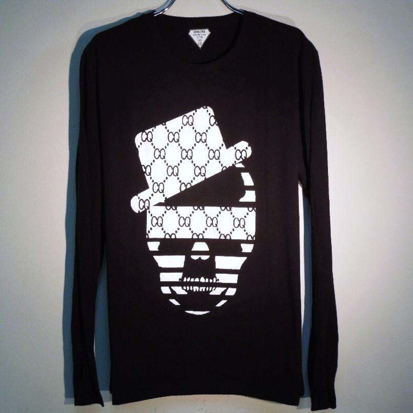 スカルハット CQ柄 ロングTシャツ / Black