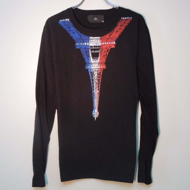 パリ スワロフスキー ロングTシャツ / Black×France