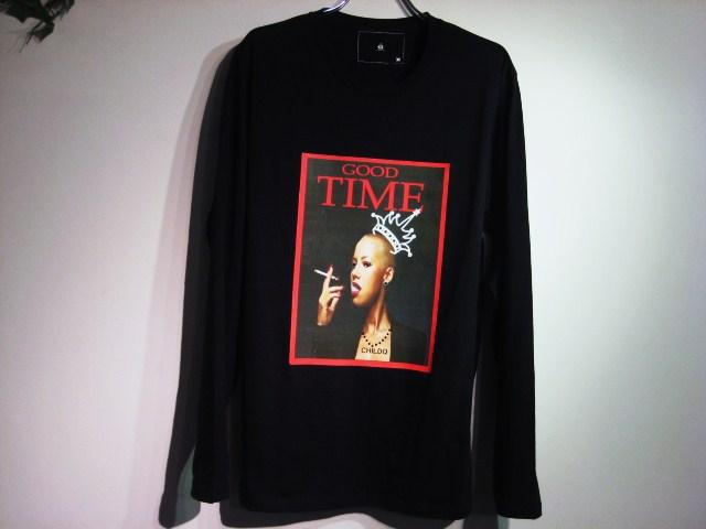 グッドタイム スワロフスキー ロングTシャツ / Black×Lady