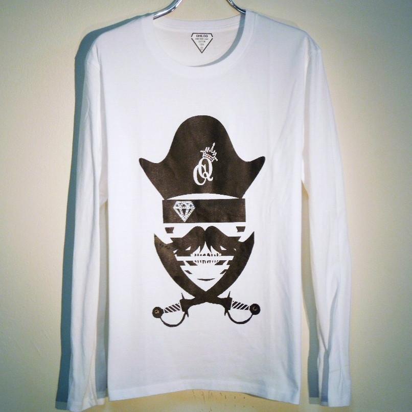 スカル ジョリーロジャー スワロフスキー ロングTシャツ / White