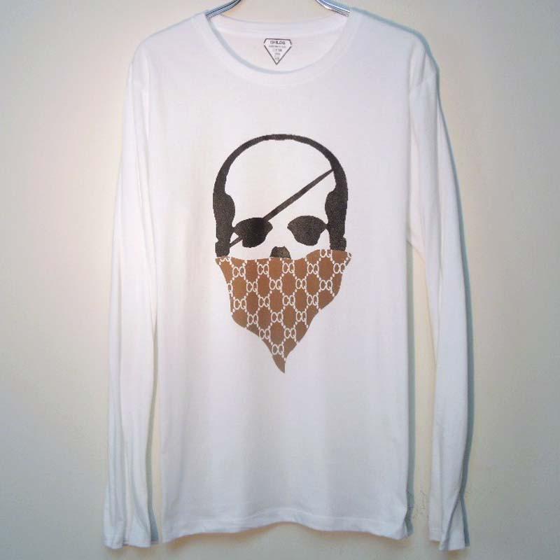 スカル バンダナ モノグラム ロングTシャツ / White×Brown