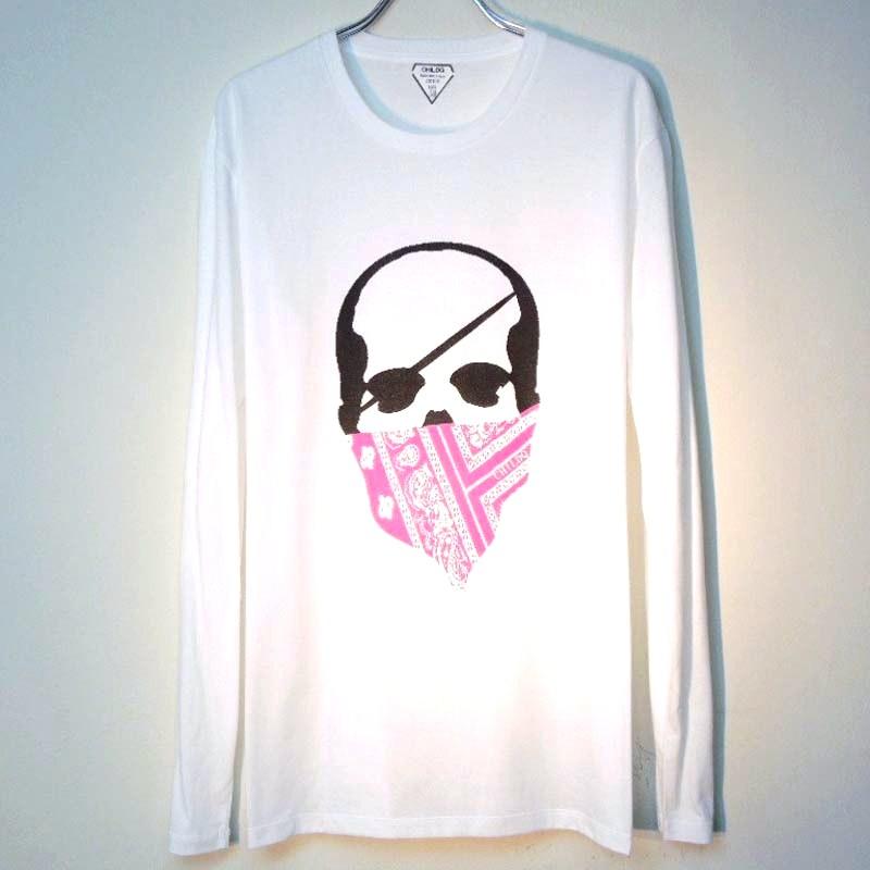 スカル バンダナ ロングTシャツ / White×Pink
