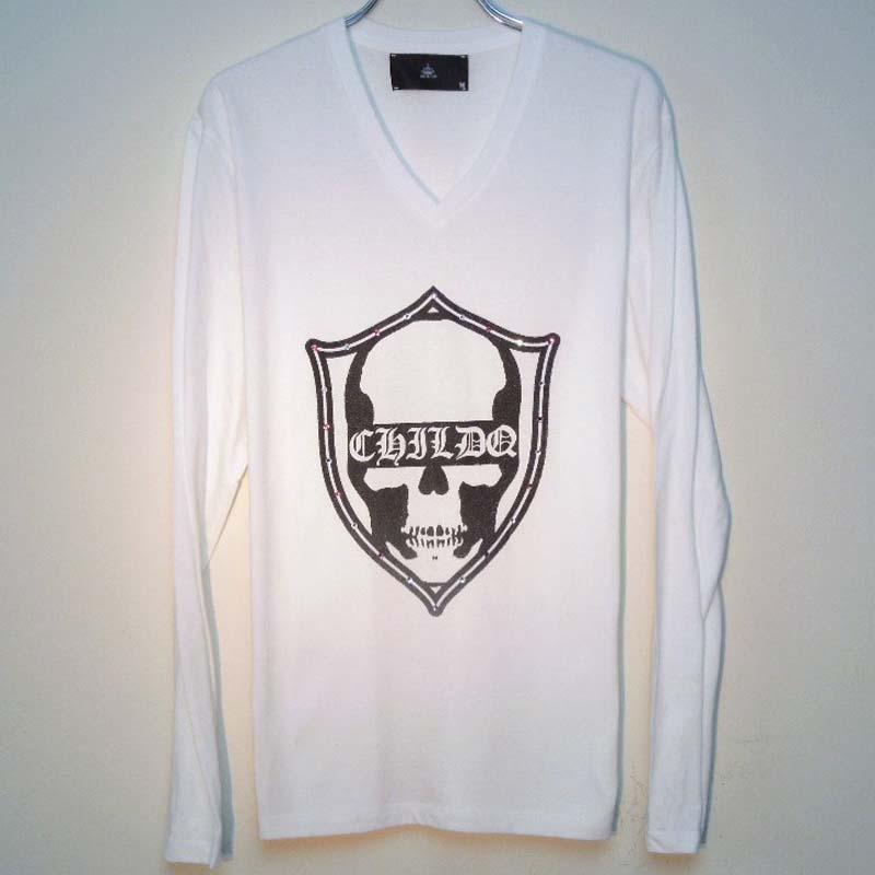 スカル エンブレム スワロフスキー ロングTシャツ / White