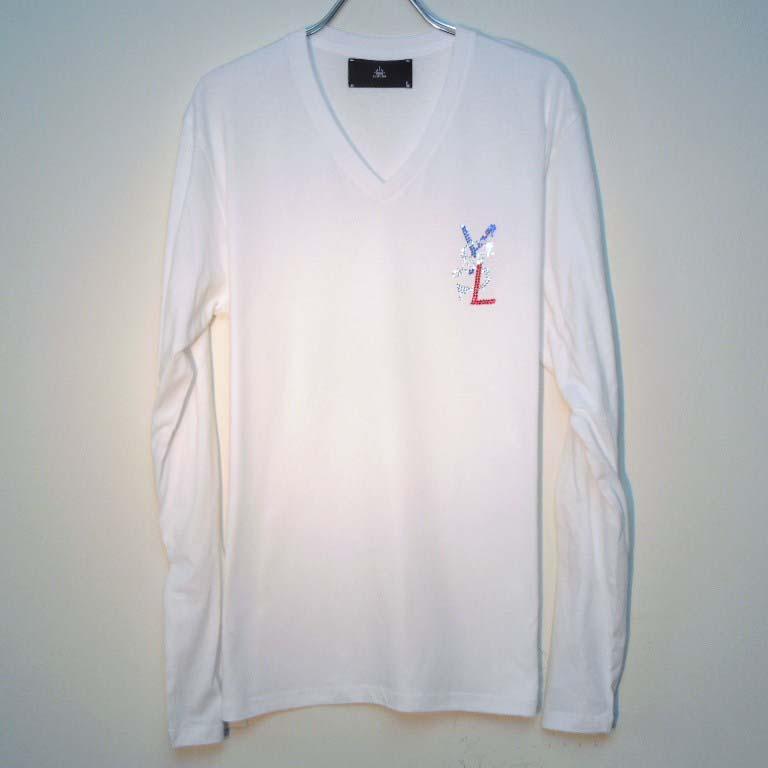 パロディクラッシュメルト 3カラー スワロフスキー ロングTシャツ / White×France