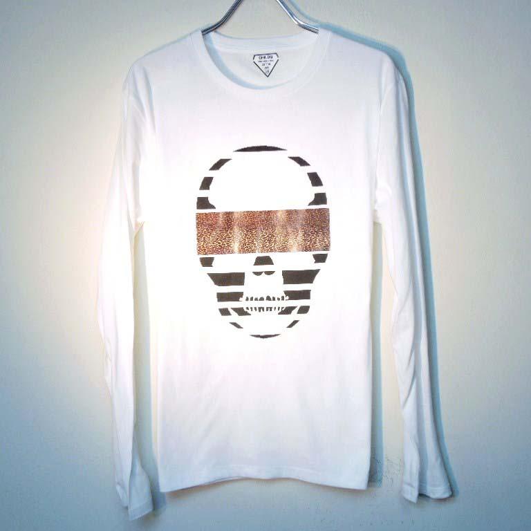 スカル レオパード ロングTシャツ / White