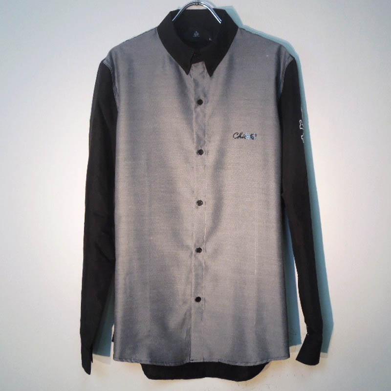 スカルボーン スワロフスキー ドレスシャツ / Black×Glay