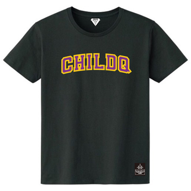 College font style T-shirt Black