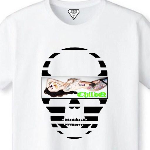 Skull Tattoo Girl NO.31 T-shirt White