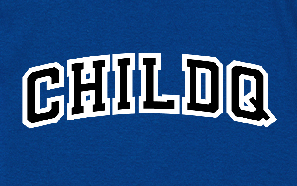 College font style T-shirt Blue