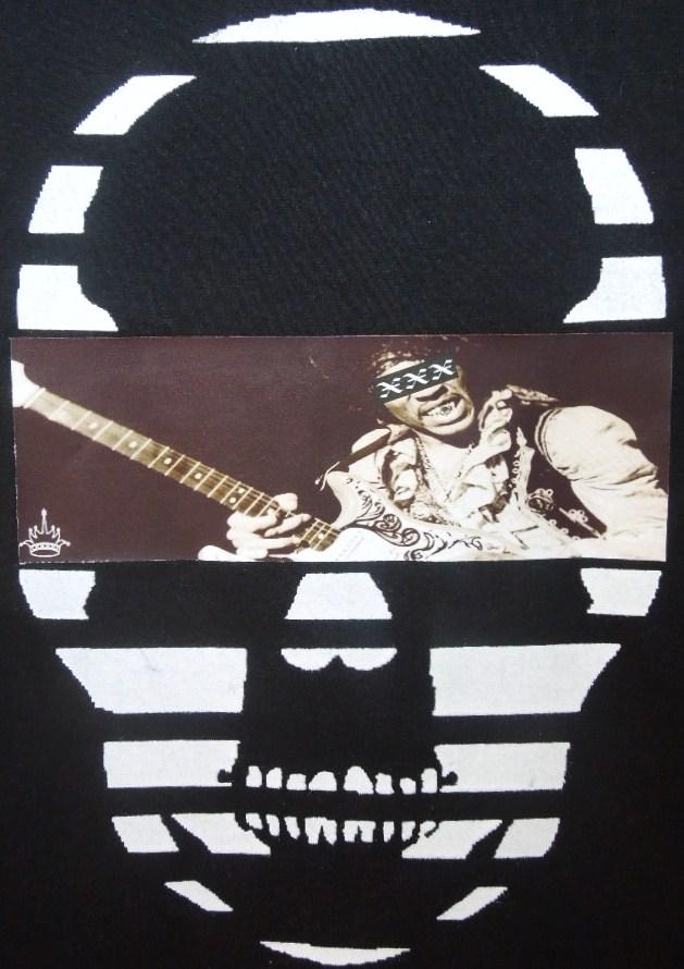 スカル フォト スタイル スワロフスキー ロングTシャツ / Black×Guitar