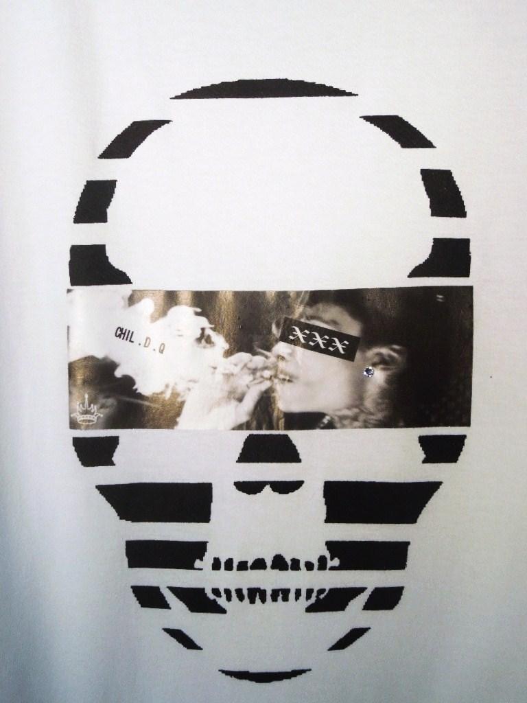 スカル フォト スタイル スワロフスキー ロングTシャツ / white×Smoke