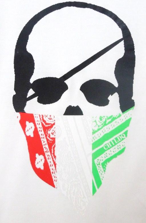 スカル バンダナ ロングTシャツ / white×Italy color
