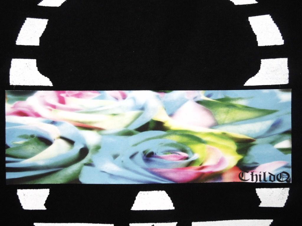 Skull Blue flower Black