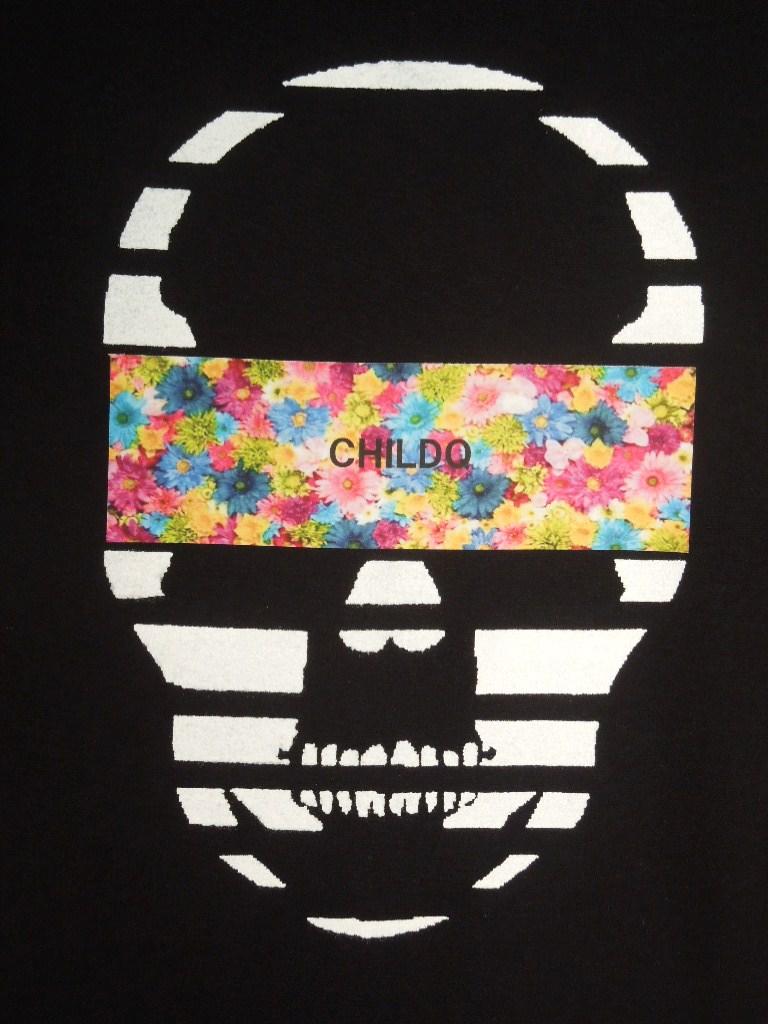 Skull Colorful flower Black