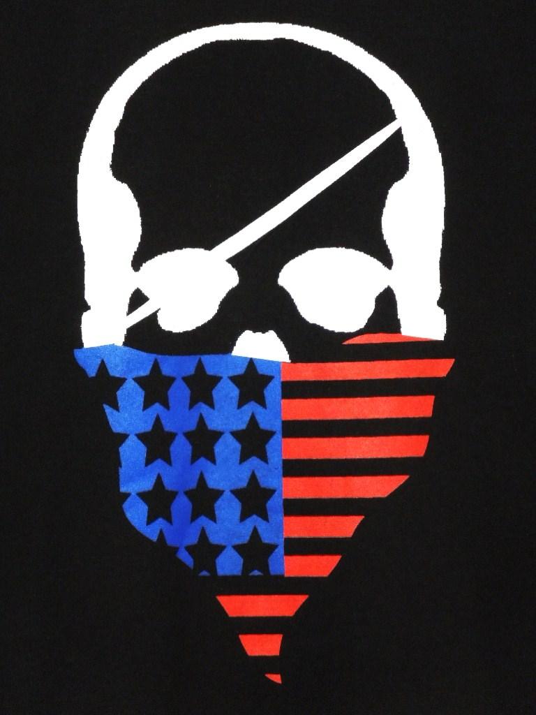 Skull bandana USA color Long T-shirt / black