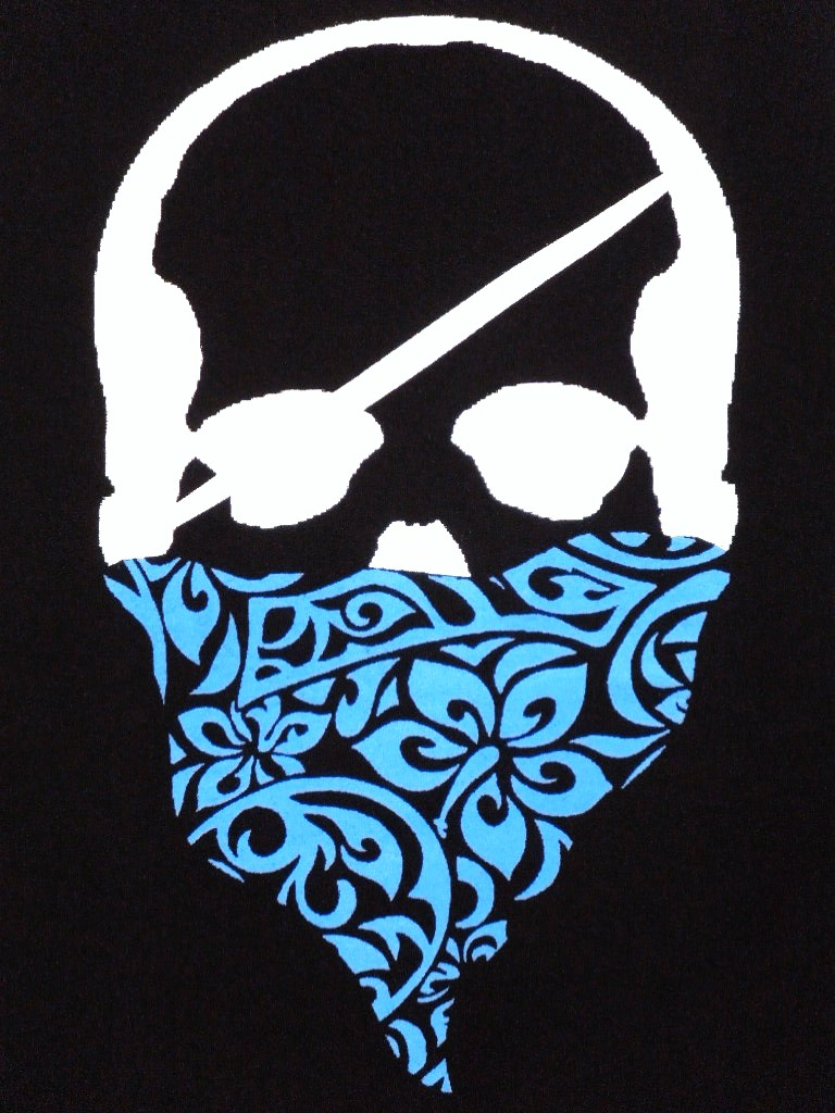 Skull Hibiscus bandana T-shirt black