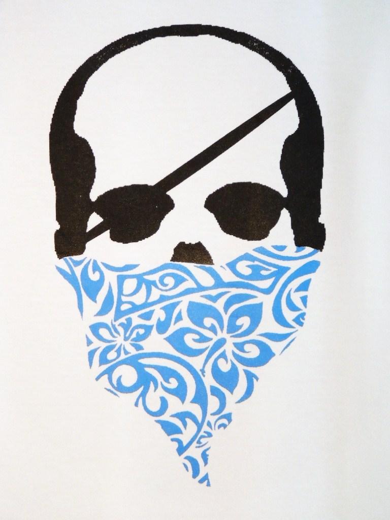Skull Hibiscus bandana T-shirt  white
