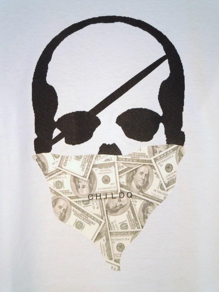 Skull bandana dollar Long T-shirt White