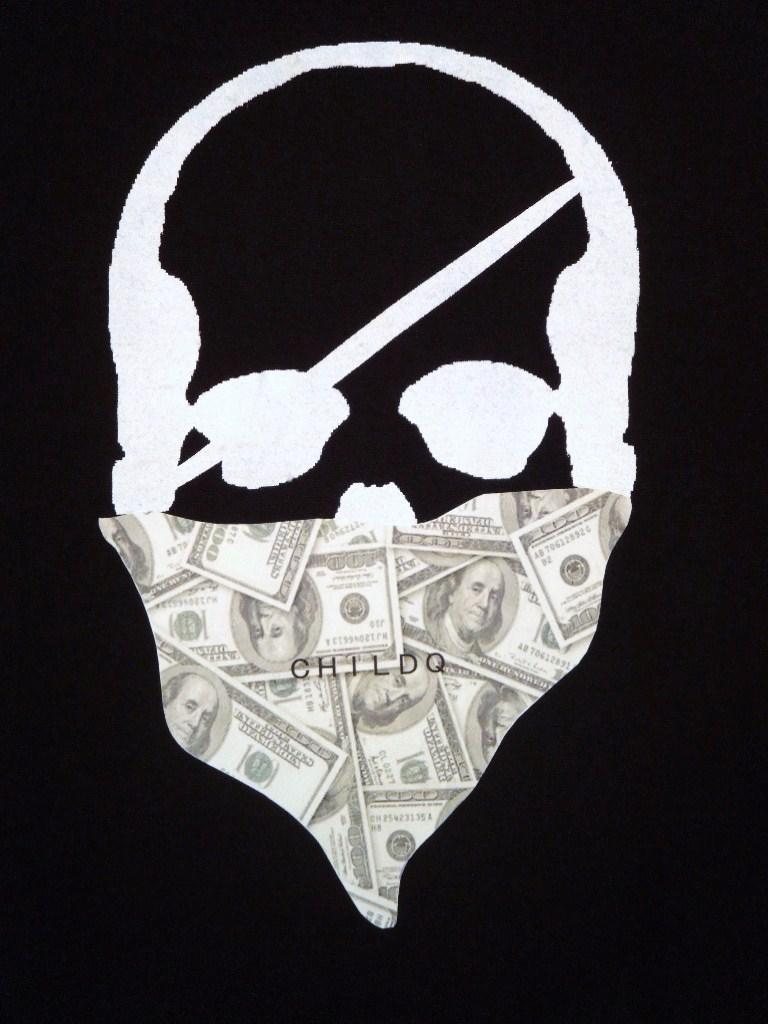 Skull bandana dollar Long T-shirt Black