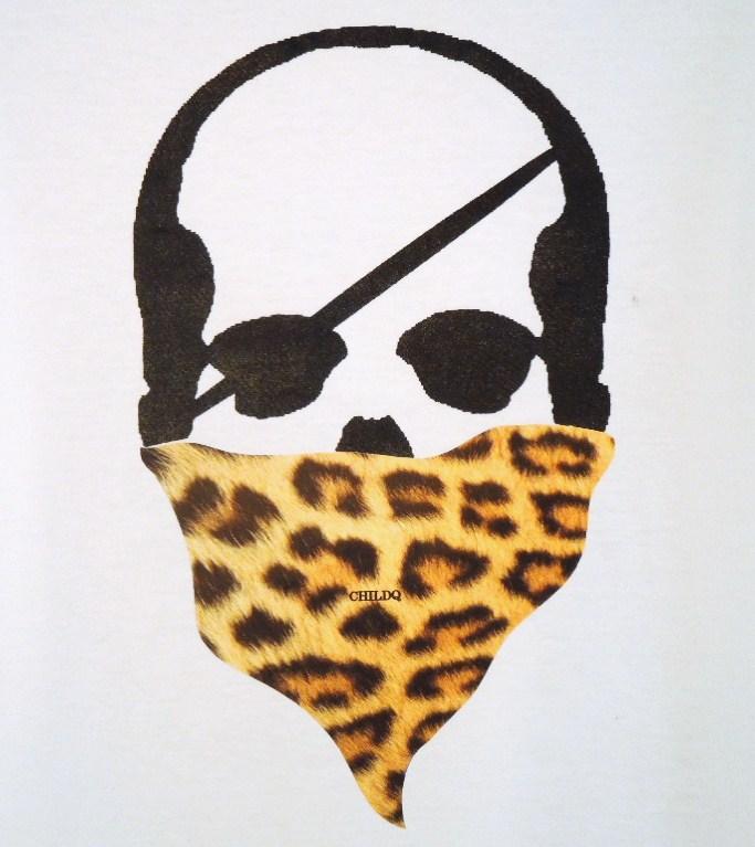 Skull Bandana Leopard Long T-shirt White