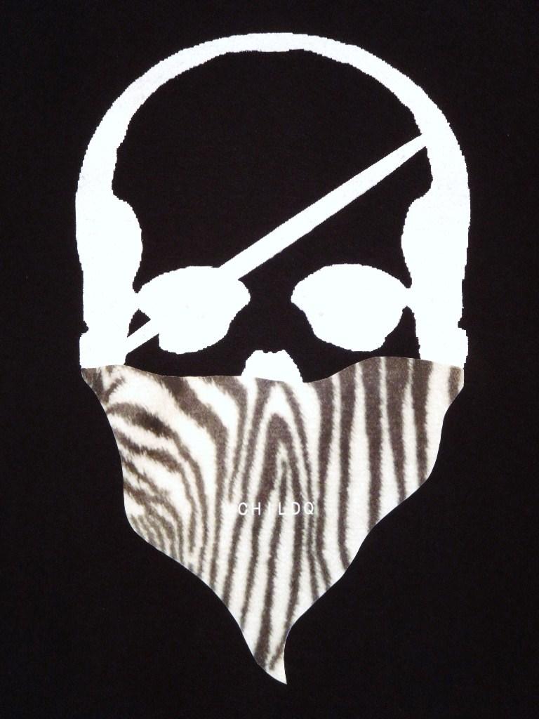 Skull Bandana Zebra Long T-shirt Black